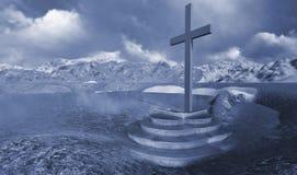 Деревянный крест в зиме Стоковая Фотография