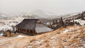 Деревянный дом в пуще зимы Стоковая Фотография RF