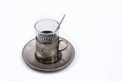 Держатель чашки античного чая стеклянный Стоковое фото RF