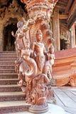 Детали святилища виска правды, Паттайя, Таиланда Стоковая Фотография RF