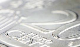 Деталь монетки цента евро 20 Стоковое фото RF
