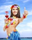 детеныши женщины Гавайских островов costume Стоковое Изображение