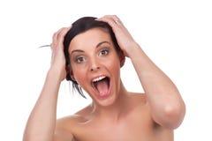 детеныши женщины счастья выражения Стоковые Изображения RF