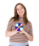 детеныши женщины диска Стоковые Изображения RF