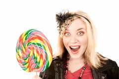 детеныши женщины lollipop милые Стоковое Изображение RF