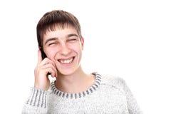 детеныши телефона человека Стоковая Фотография