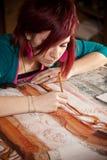 детеныши художника женские Стоковая Фотография