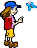 детеныши девушки бабочки Стоковое Изображение