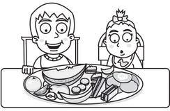 дети едят готовое к Стоковые Изображения RF