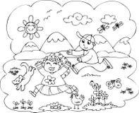 Дети играя в сельской местности Стоковая Фотография RF