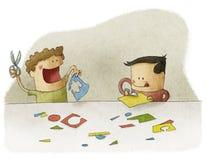 Дети играя с ремеслом Стоковое фото RF