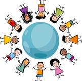 Дети и иллюстрация шаржа глобуса Стоковые Фотографии RF