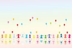дети покрасили счастливой Стоковое Фото