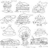 Дети рисуя doodle комплекта жилья Стоковые Изображения RF