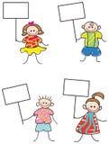 Дети с знаками Стоковое Изображение RF