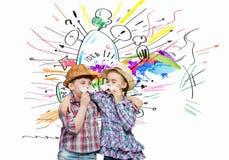 Дети с усиком Стоковые Фотографии RF