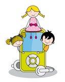 Дети с mp3 Стоковая Фотография