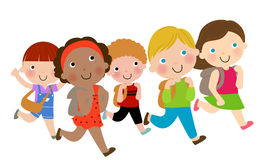 Дети школы бежать счастливо Стоковые Фото