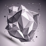 Деформированный 3D абстрактный кибернетический объект, линии цепляет Стоковые Изображения