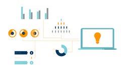 Дело произведенное цифров оранжевое и голубое infographic Стоковая Фотография RF
