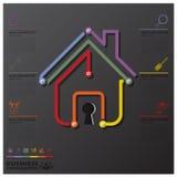 Дело Infographic временной последовательности по соединения дома и недвижимости Стоковая Фотография RF