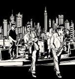 Джаз-бэнд играя в Нью-Йорке Стоковая Фотография
