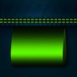 Джинсы соединяют швами с зеленой опорожняют ярлык Стоковые Изображения