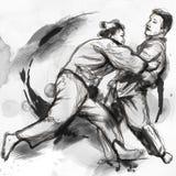 Дзюдо - полноразрядной иллюстрация нарисованная рукой Стоковое Изображение
