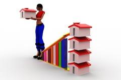 диаграмма и дом выгоды женщин 3d Стоковое Изображение RF