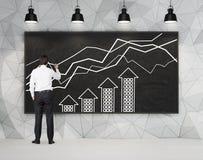Диаграмма чертежа бизнесмена Стоковое Изображение