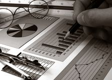 Диаграммы фондовой биржи Стоковая Фотография RF