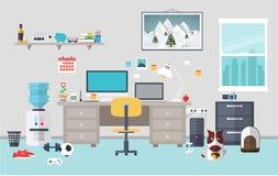 Дизайнерское место для работы в комнате работы Стоковое Изображение