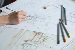 Детали чертежа руки интерьера Стоковые Фотографии RF