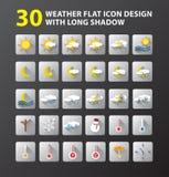Дизайн значка погоды плоский Стоковые Фото