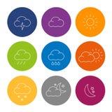 Дизайн значков погоды плоский Стоковое фото RF