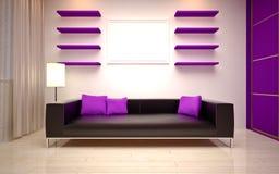 Дизайн интерьера. Современная живущая комната Стоковое Изображение