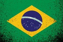 Дизайн иллюстрации знамени флага grunge Бразилии Стоковые Изображения RF