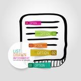 Дизайн и infographics списка вектора нарисованные рукой Стоковые Изображения RF