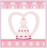Дизайн карточки свадебного пирога Стоковые Фотографии RF