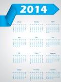 Дизайн календаря голубой ленты на 2014 Стоковое Изображение