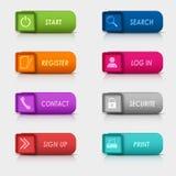 Дизайн кнопок сети покрашенного комплекта прямоугольный квадратный Стоковые Изображения