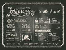 Дизайн меню еды ресторана с предпосылкой доски Стоковая Фотография