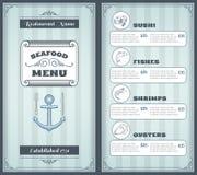 Дизайн меню морепродуктов Стоковые Изображения RF