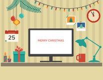 Дизайн настольного компьютера Санты рождества плоский Стоковые Изображения