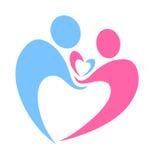 Дизайн логотипа уважения заботы влюбленности семьи заботя Стоковые Изображения