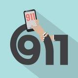 Дизайн оформления звонка 911 Стоковое Фото