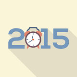Дизайн 2015 поздравительной открытки плоский Стоковые Изображения