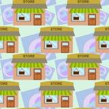 Дизайн предпосылки магазина шаржа безшовный Стоковое Фото