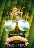 Дизайн рогульки партии пляжа лета вектора с сексуальной девушкой Стоковое Изображение RF