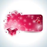 Дизайн рождества вектора с волшебной подарочной коробкой и красным стеклянным шариком на ясной предпосылке Стоковые Изображения RF